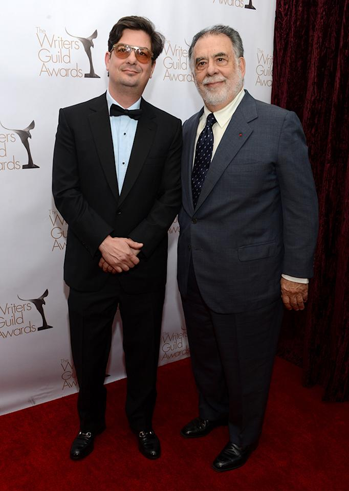 Roman Coppola and Francis Ford Coppola arrive at the 2013 WGAw Writers Guild Awards at JW Marriott Los Angeles at L.A. LIVE on February 17, 2013 in Los Angeles, California.  (Photo by Jason Kempin/Getty Images for WGAw)