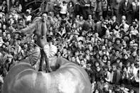 <p><em>The Daily News</em>' city-themed Big Apple float has carried some mega stars through Manhattan's streets over the years. Following the release of her eponymous 1976 album, Diana Ross stood at the stem of the 30-foot red apple during the 53rd Macy's Thanksgiving Day Parade.</p>