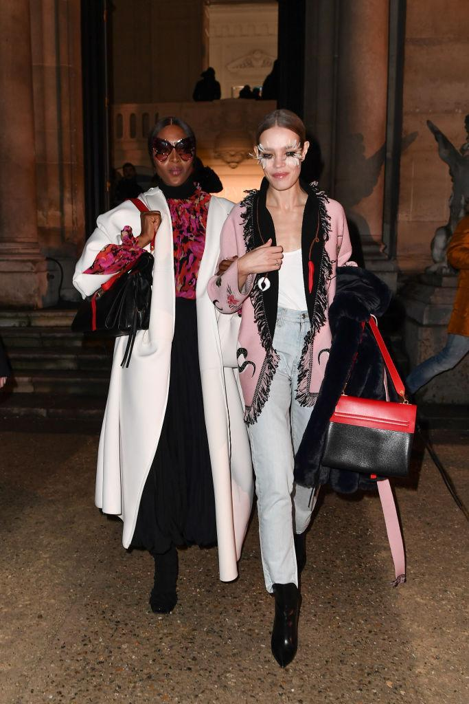 Natalia Vodianova and Naomi Campbell are seen arriving at Valentino fashion show during Paris Fashion Week Haute Couture Spring Summer 2020 on January 23, 2019 in Paris, France. (Photo by Jacopo Raule/Getty Images)