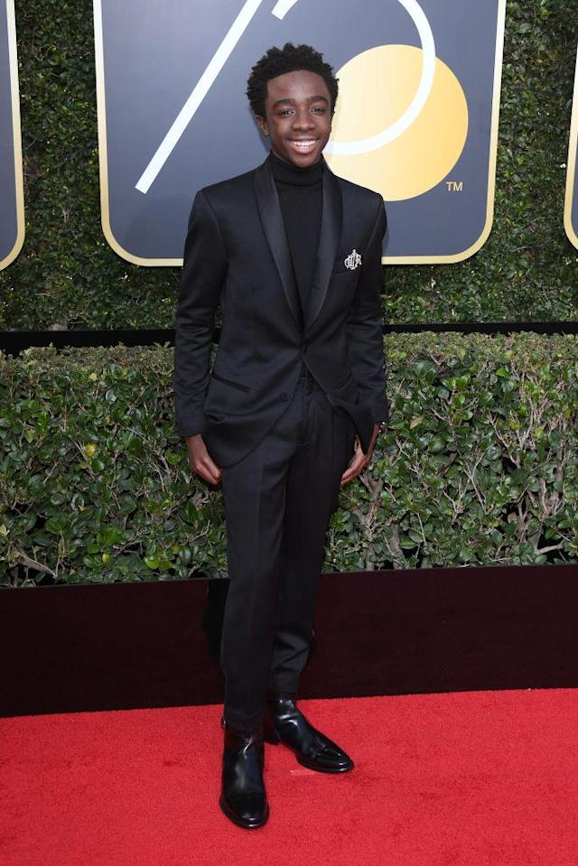 <p>The<em> Stranger Things</em> actor attends the 75th Annual Golden Globe Awards at the Beverly Hilton Hotel in Beverly Hills, Calif., on Jan. 7, 2018. (Photo: Venturelli/WireImage) </p>