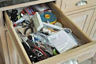 """<p>Per usual with junk drawers, <a href=""""http://www.jrlwoodworking.com/2013/06/tutorial-organizing-your-junk-drawer.html"""" rel=""""nofollow noopener"""" target=""""_blank"""" data-ylk=""""slk:this one"""" class=""""link rapid-noclick-resp"""">this one</a> was piled high with all of the items that don't have a proper place in the home.</p>"""