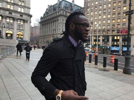 FILE PHOTO - American boxer Deontay Wilder exits the federal courthouse in Manhattan, New York U.S., February 7, 2017. REUTERS/Nate Raymond/File Photo