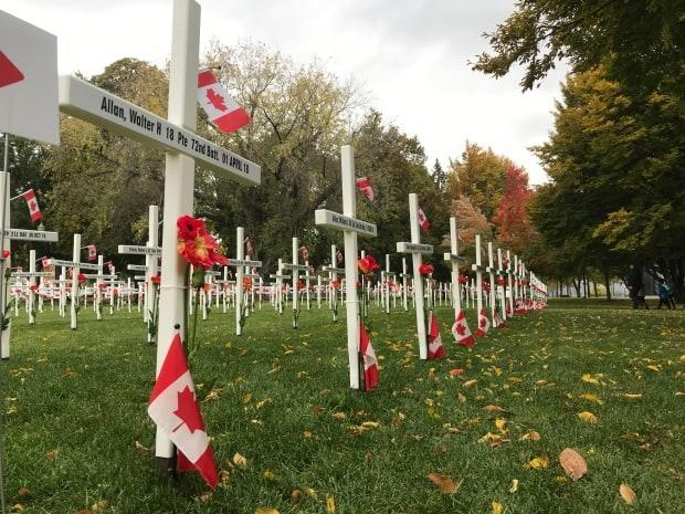 Field of Crosses a place to honour fallen soldiers as Kelowna's annual Remembrance Day service cancelled