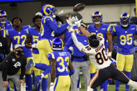 Los Angeles Rams cornerback Jalen Ramsey, left, intercepts a pass intended for Chicago Bears tight end Jimmy Graham (80) during the second half of an NFL football game Monday, Oct. 26, 2020, in Inglewood, Calif. (AP Photo/Kelvin Kuo)