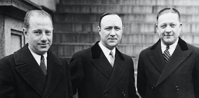 From left: NBC president M.H. Aylesworth with <em>Amos 'n' Andy</em> creators Freeman Gosden and Charles Correll in 1930. (Photo: Courtesy Everett Collection)