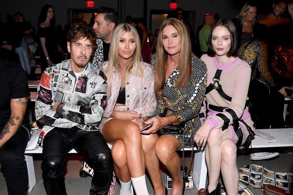 <p>Steven Klein, Sophia Hutchins, Caitlyn Jenner and Coco Rocha attend the Jeremy Scott Spring 2019 show during New York Fashion Week at Spring Studios on September 6, 2018 in New York City. (Photo: Nicholas Hunt/Getty Images) </p>