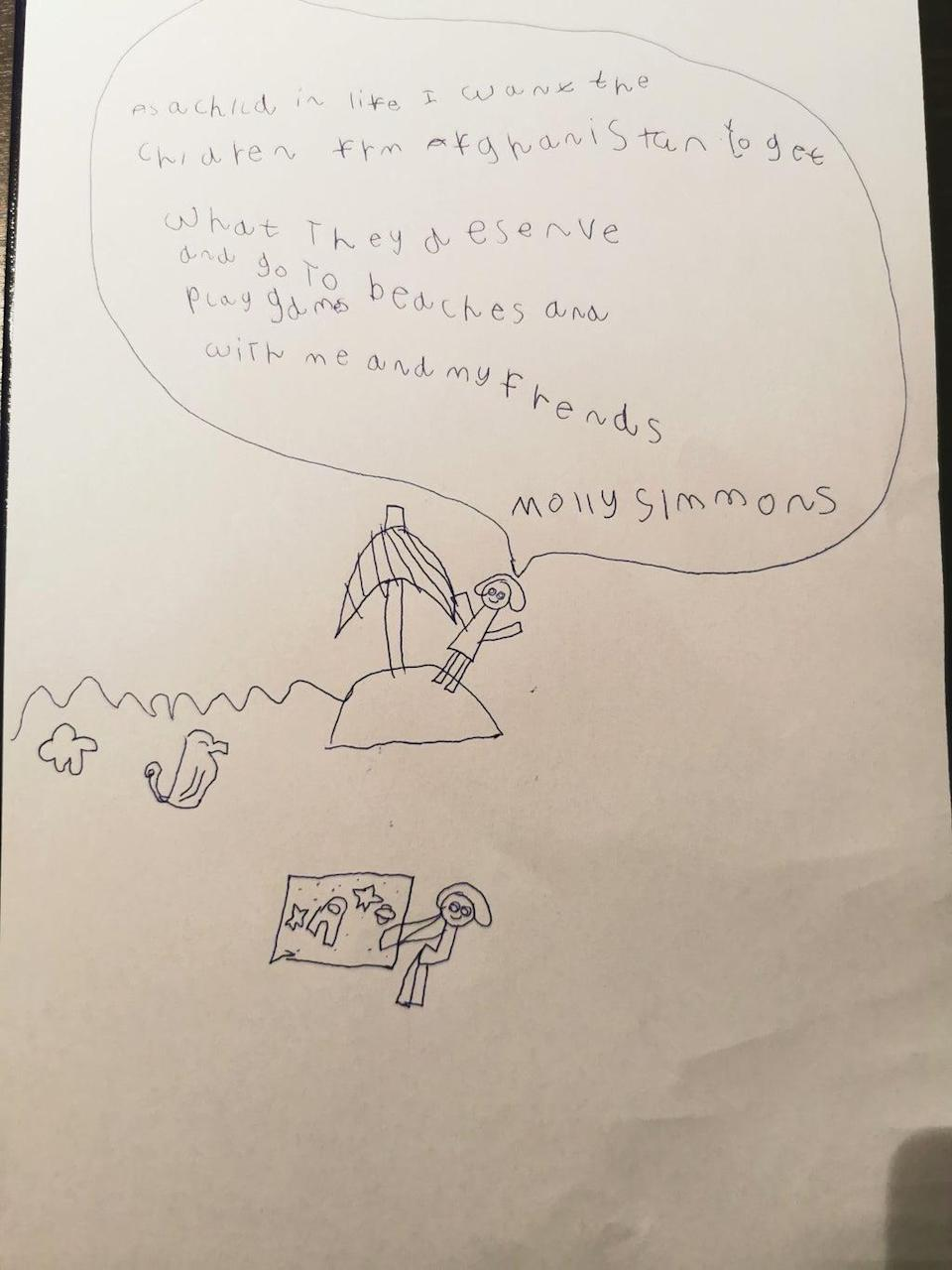 Mr. Simmon's daughter, Molly Simmons, six, drew a picture welcoming Afghan children to the UK (PA)