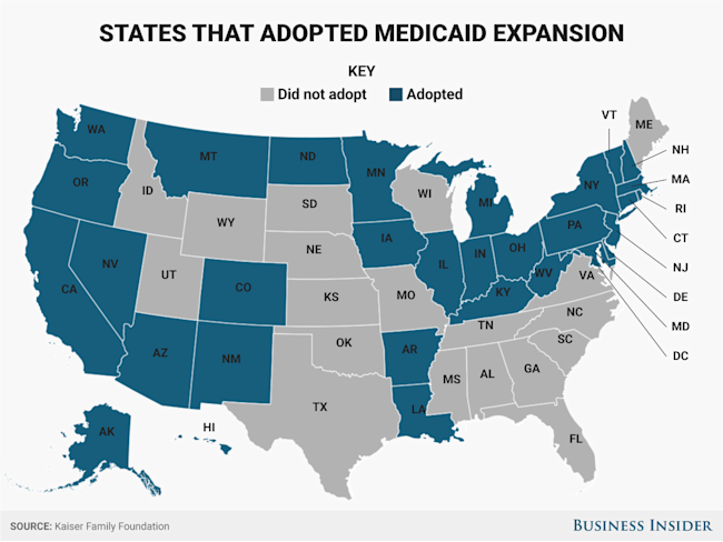 States that adopted the Medicaid expansion