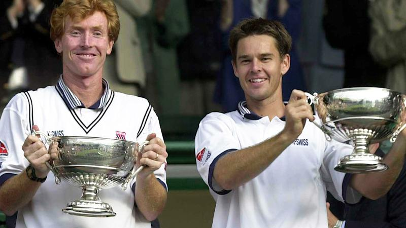 Mark Woodforde and Todd Woodbridge are pictured after winning the men's doubles at Wimbledon in 2000.