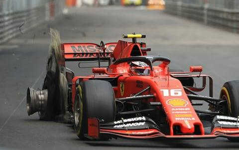26th May 2019, Monte Carlo, Monaco; F1 Grand Prix of Monte Carlo, race day; Scuderia Ferrari, Charles Leclerc rear tire in shreds which will cause him to retire later in the race - Credit: Action Plus