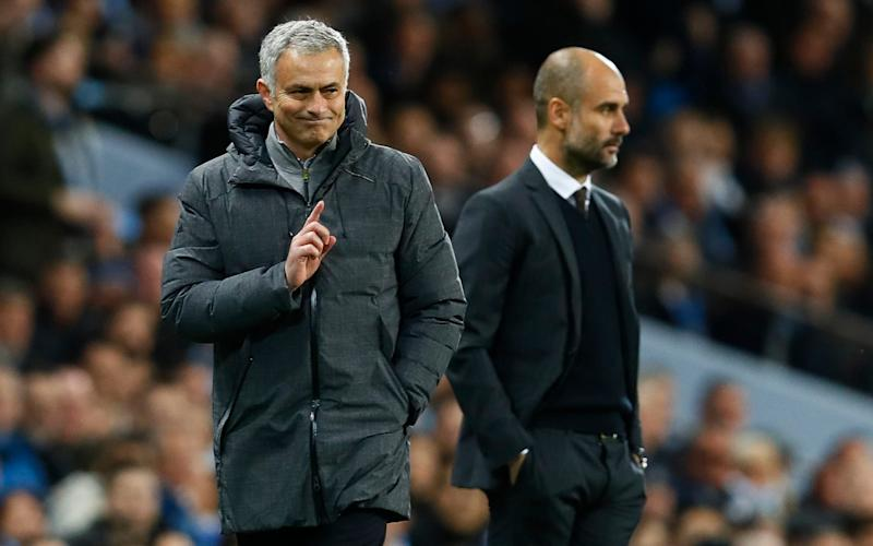 Manchester United manager Jose Mourinho and Manchester City manager Pep Guardiola