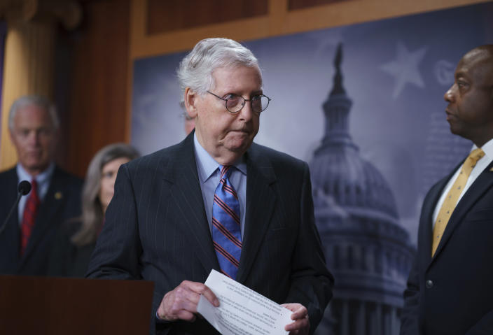 Senate Minority Leader Mitch McConnell, R-Ky., and other GOP senators speak to reporters ahead of a test vote scheduled by Democratic Leader Chuck Schumer of New York on the bipartisan infrastructure deal senators brokered with President Joe Biden, in Washington, Wednesday, July 21, 2021. Republicans are prepared to block the vote over what they see as a rushed and misguided process. (AP Photo/J. Scott Applewhite)