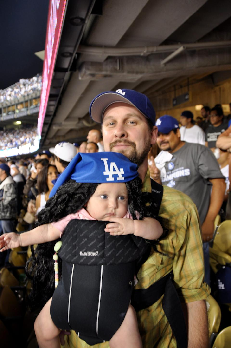 Matt Logelin with Maddy at a Dodger's game.