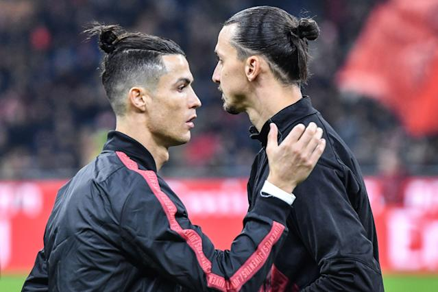 Cristiano Ronaldo and Zlatan Ibrahimovic exchanged pleasantries before the match. (Alberto Pizzoli/Getty)