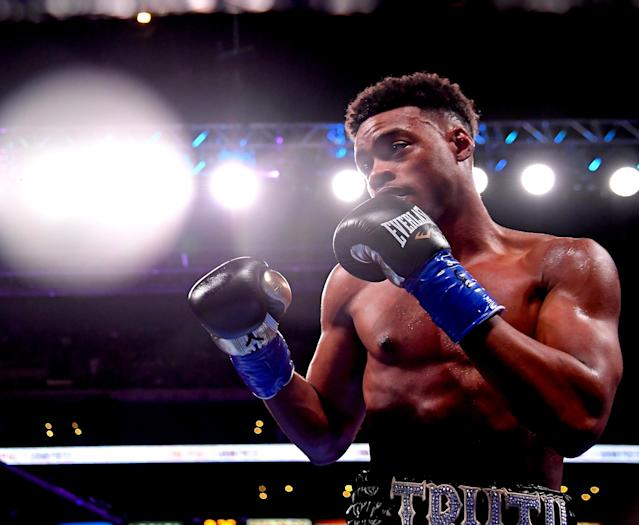 Errol Spence Jr. spoke publicly on Saturday for the first time since his car accident. (Photo by Jayne Kamin-Oncea/Getty Images)