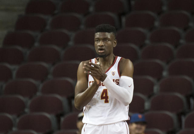 Southern California forward Chimezie Metu the first half of an NCAA college basketball game, Friday, Dec. 29, 2017, in Los Angeles. (AP Photo/Kyusung Gong)
