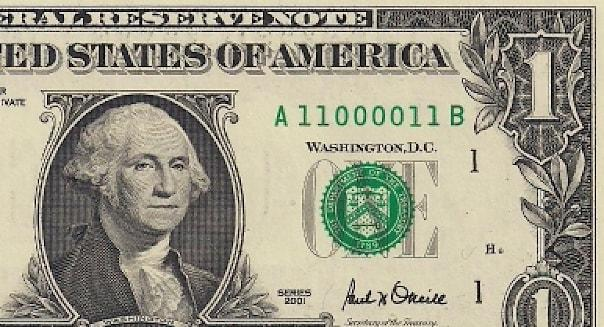 Dollar bill with a fancy serial number