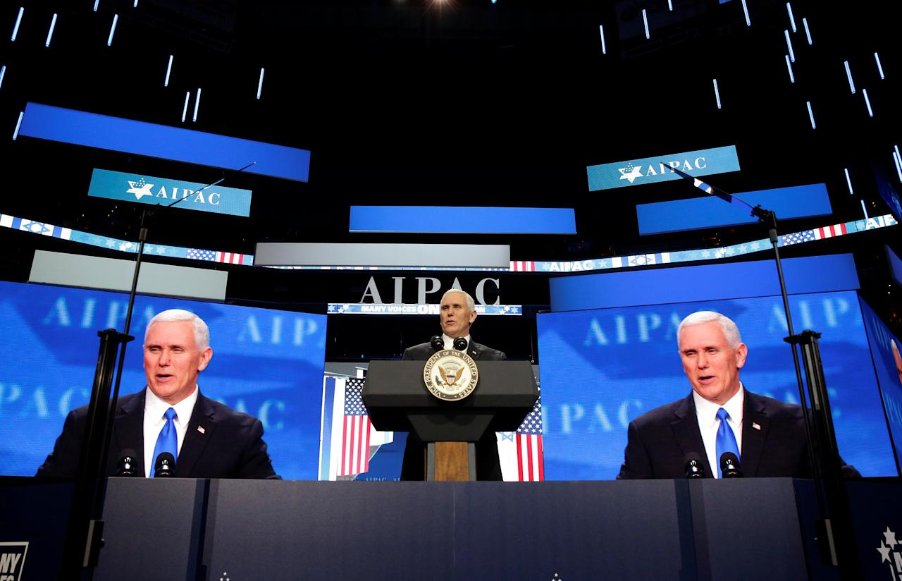 U.S. Vice President Mike Pence speaks at the American Israel Public Affairs Committee (AIPAC) policy conference in Washington, U.S., March 26, 2017.      REUTERS/Joshua Roberts