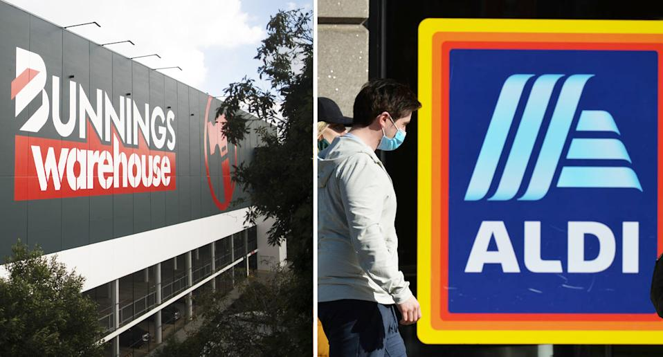 Pictured are exteriors of a Bunnings and an Aldi. They were announced as Covid exposure sites in Melbourne's new outbreak.