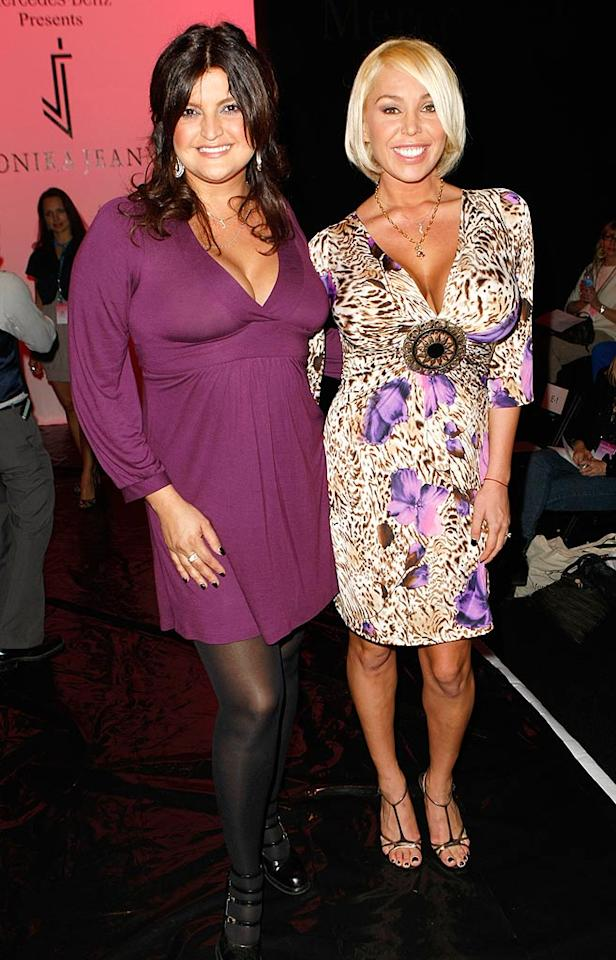 "Actress Gennifer Gimenez and porn star Mary Carey flaunted their assets during L.A. Fashion Week. While we like Mary's short new 'do, this floral/animal print dress topped off with a gigantic brooch makes our head spin. Michael Buckner/<a href=""http://www.gettyimages.com/"" target=""new"">GettyImages.com</a> - March 10, 2008"