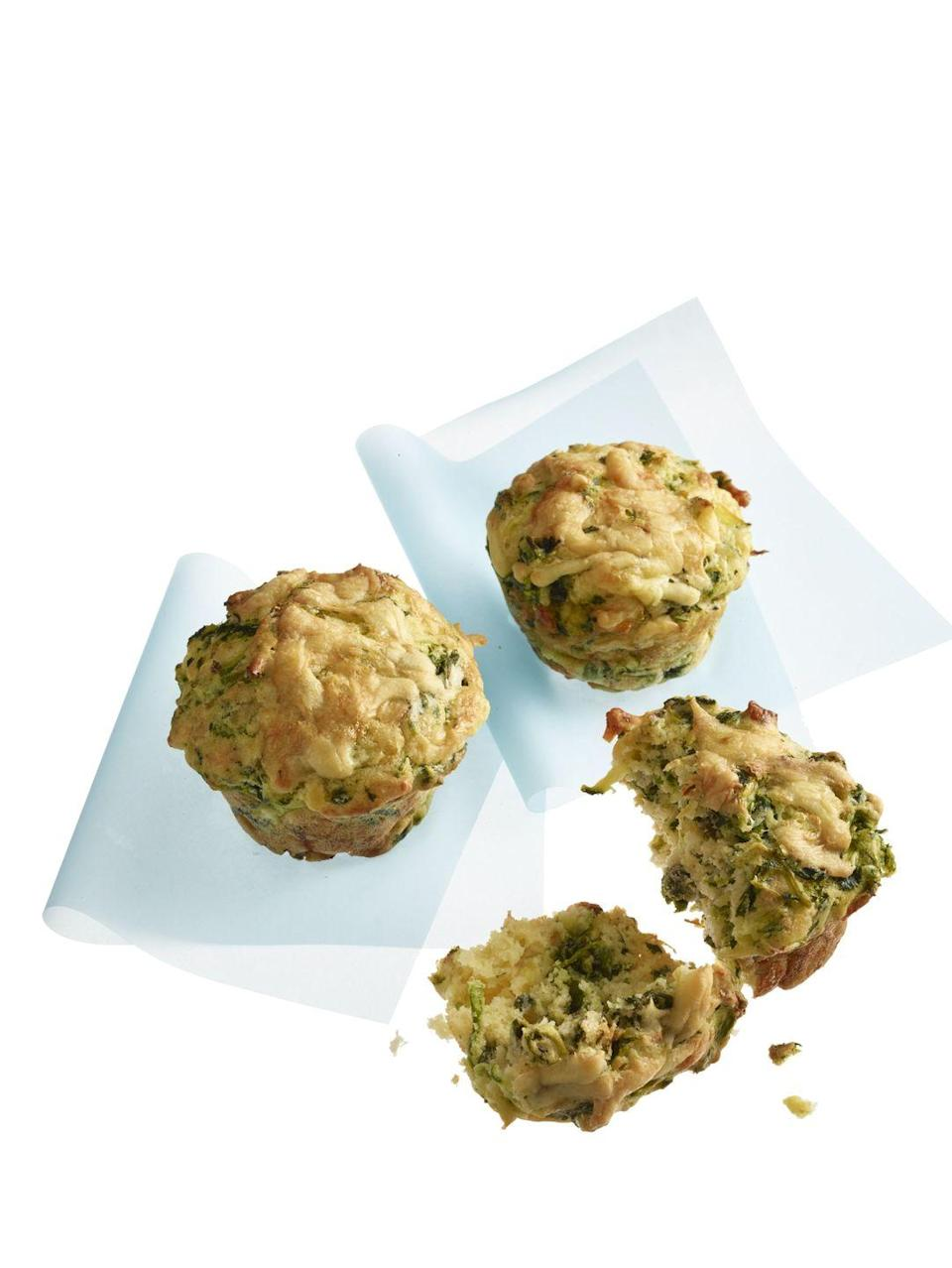 """<p>Savory muffins make a great protein-packed snack.</p><p><a href=""""https://www.womansday.com/food-recipes/food-drinks/recipes/a55806/cheddar-zucchini-scallion-muffins-recipe/"""" rel=""""nofollow noopener"""" target=""""_blank"""" data-ylk=""""slk:Get the Cheddar, Zucchini & Scallion Muffins recipe."""" class=""""link rapid-noclick-resp""""><em>Get the Cheddar, Zucchini & Scallion Muffins recipe.</em></a></p>"""