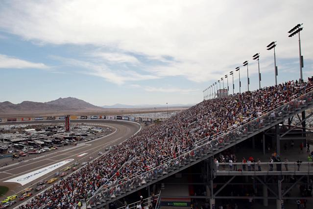LAS VEGAS, NV - MARCH 11: Car racs during the NASCAR Sprint Cup Series Kobalt Tools 400 at Las Vegas Motor Speedway on March 11, 2012 in Las Vegas, Nevada. (Photo by Ronald Martinez/Getty Images for NASCAR)