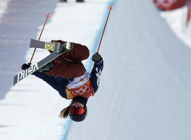 <p>Maddie Bowman, of the United States, jumps during the women's halfpipe final at Phoenix Snow Park at the 2018 Winter Olympics in Pyeongchang, South Korea, Tuesday, Feb. 20, 2018. (AP Photo/Kin Cheung) </p>