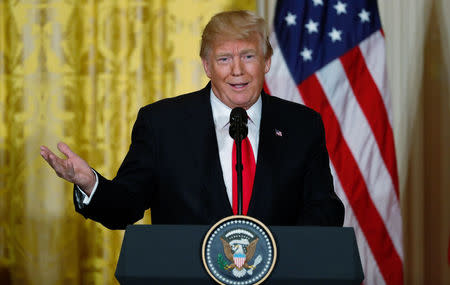 U.S. President Trump holds joint news conference with Norwegian Prime Minister Solberg at the White House in Washington