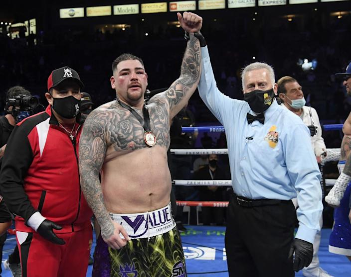 Andy Ruiz Jr. has his hand raised by referee Jack Reiss after defeating Chris Arreola on Saturday.