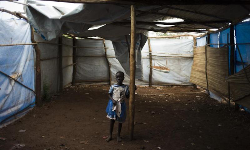 A South Sudanese child at the Bidibidi refugee camp in Imvepi, Uganda
