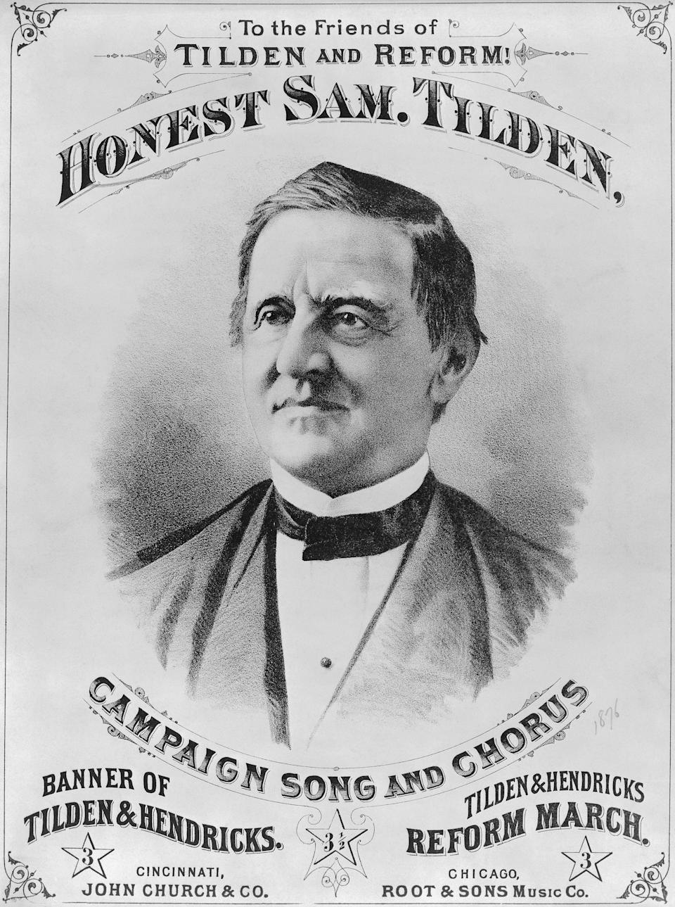Samuel Tilden was the Democratic candidate who, although received more popular votes than his Republican opponent, lost the Presidential election by one electoral vote to Rutherford B. Hayes. This banner was supporting him and his ideas of reform.
