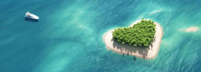 While it hasn't been confirmed yet where they're actually going, the fact she's spending $200,000 makes us think she's renting out a private island, like this heart-shaped one. Photo: Getty Images