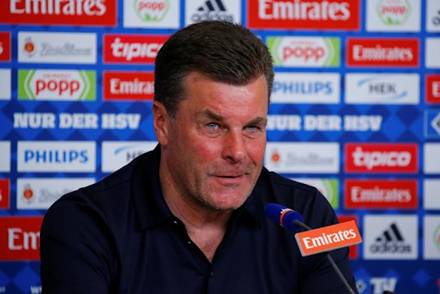 Soccer Football - Bundesliga - Hamburger SV v Borussia Moenchengladbach - Volksparkstadion, Hamburg, Germany - May 12, 2018 Borussia Monchengladbach coach Dieter Hecking during a press conference after the match REUTERS/Morris Mac Matzen DFL RULES TO LIMIT THE ONLINE USAGE DURING MATCH TIME TO 15 PICTURES PER GAME. IMAGE SEQUENCES TO SIMULATE VIDEO IS NOT ALLOWED AT ANY TIME. FOR FURTHER QUERIES PLEASE CONTACT DFL DIRECTLY AT + 49 69 650050