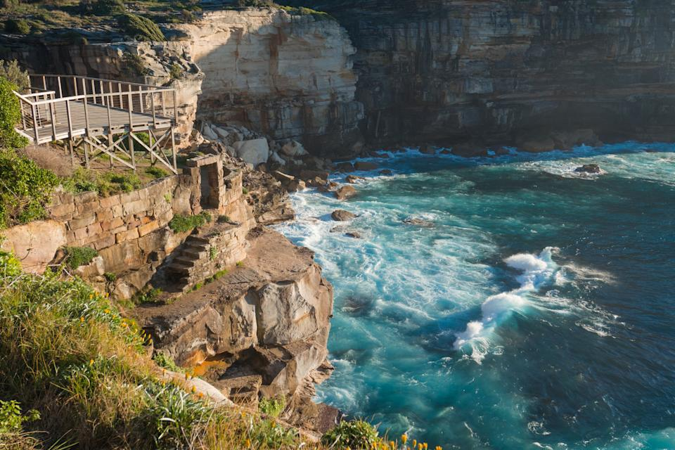 Rock cliff side at Diamond Bay, Sydney, Australia