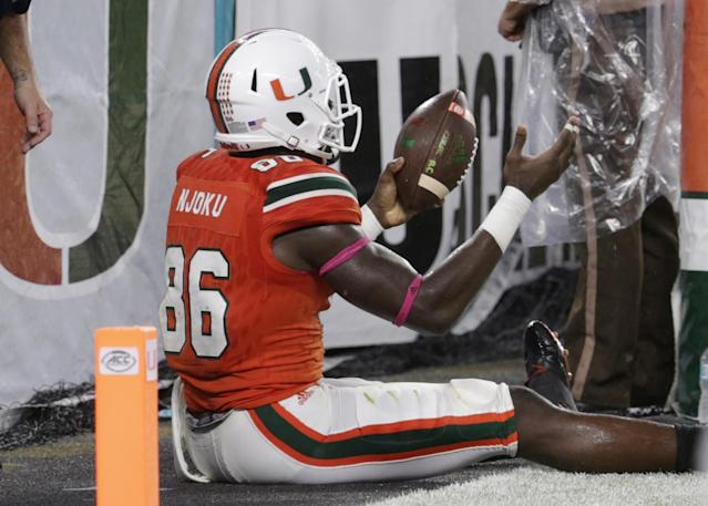Miami (Fla.) TE David Njoku can heat up quickly but has a lot to learn. (AP)