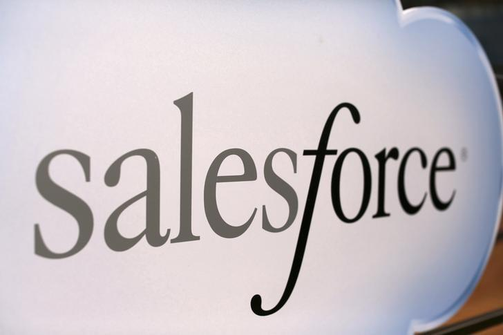 Salesforce sign is seen during the company's annual Dreamforce event, in San Francisco