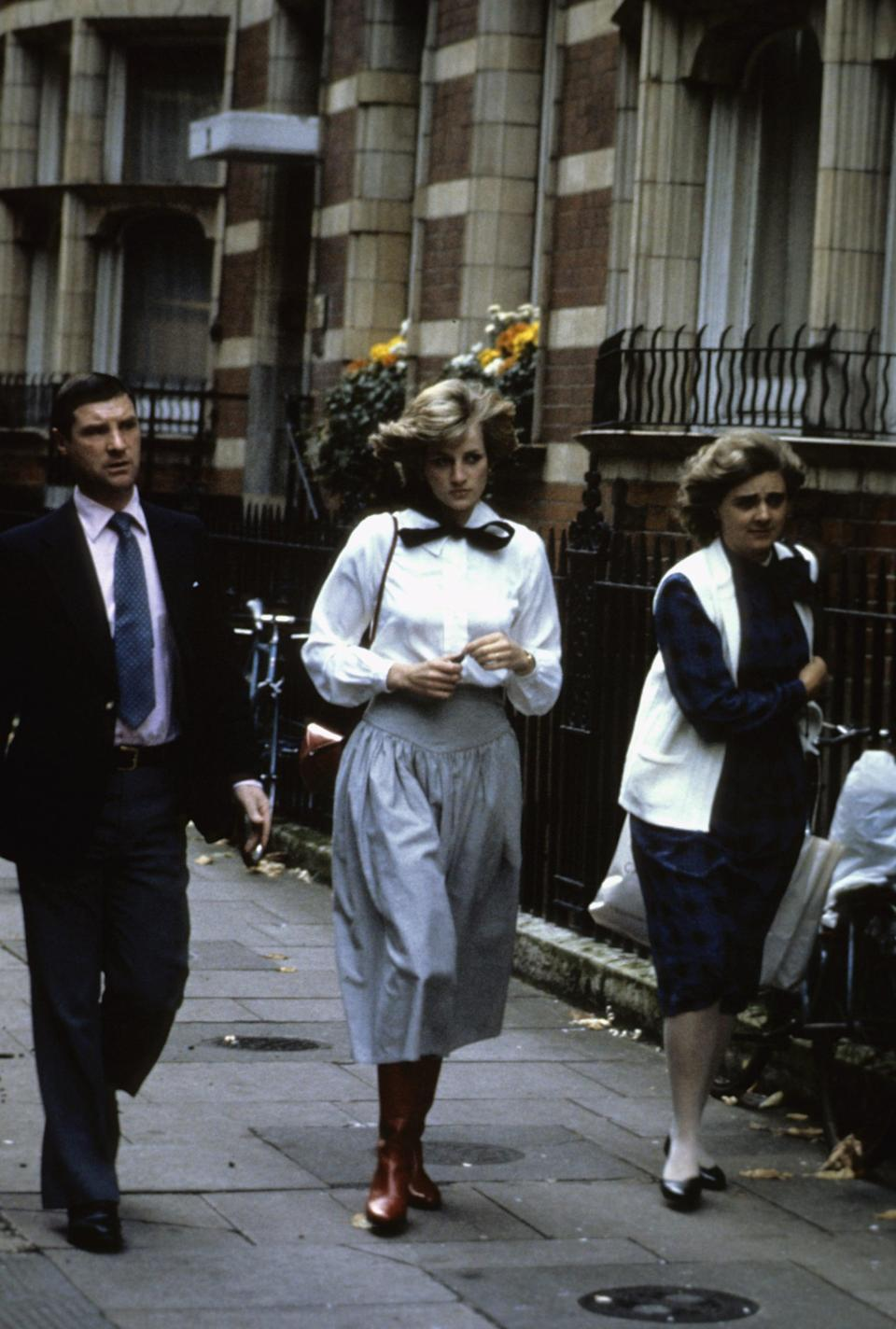 <p>Here's Diana walking down the street in 1982 wearing what is perhaps her most similar bag.</p>