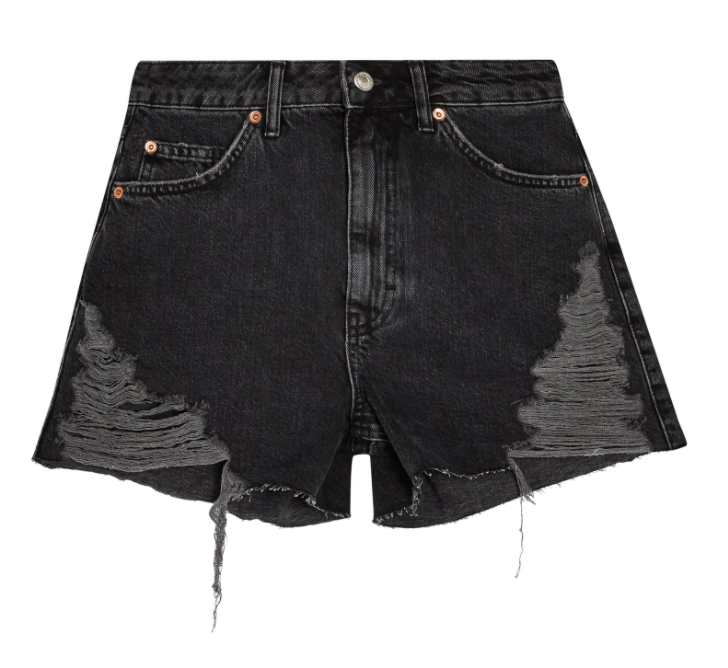 Topshop Super Ripped Mom Shorts in Washed Black