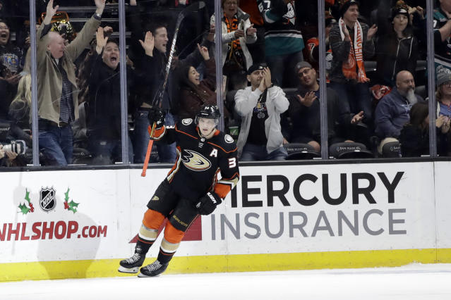 Anaheim Ducks' Jakob Silfverberg celebrates after scoring the game-winning goal during a shootout in an NHL hockey game against the New York Rangers Saturday, Dec. 14, 2019, in Anaheim, Calif. (AP Photo/Marcio Jose Sanchez)