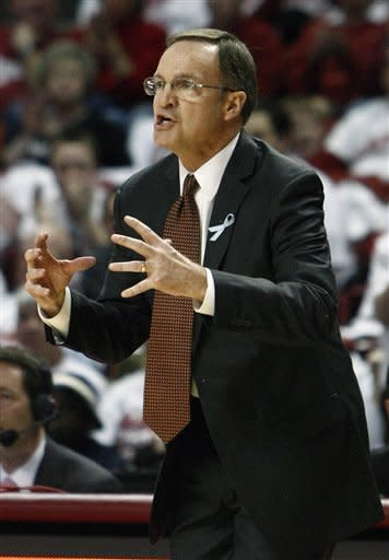 Oklahoma head coach Lon Kruger instructs his team against Texas A&M during the first half of an NCAA college basketball game in Norman, Okla., Saturday, March 3, 2012. (AP Photo/Alonzo Adams)