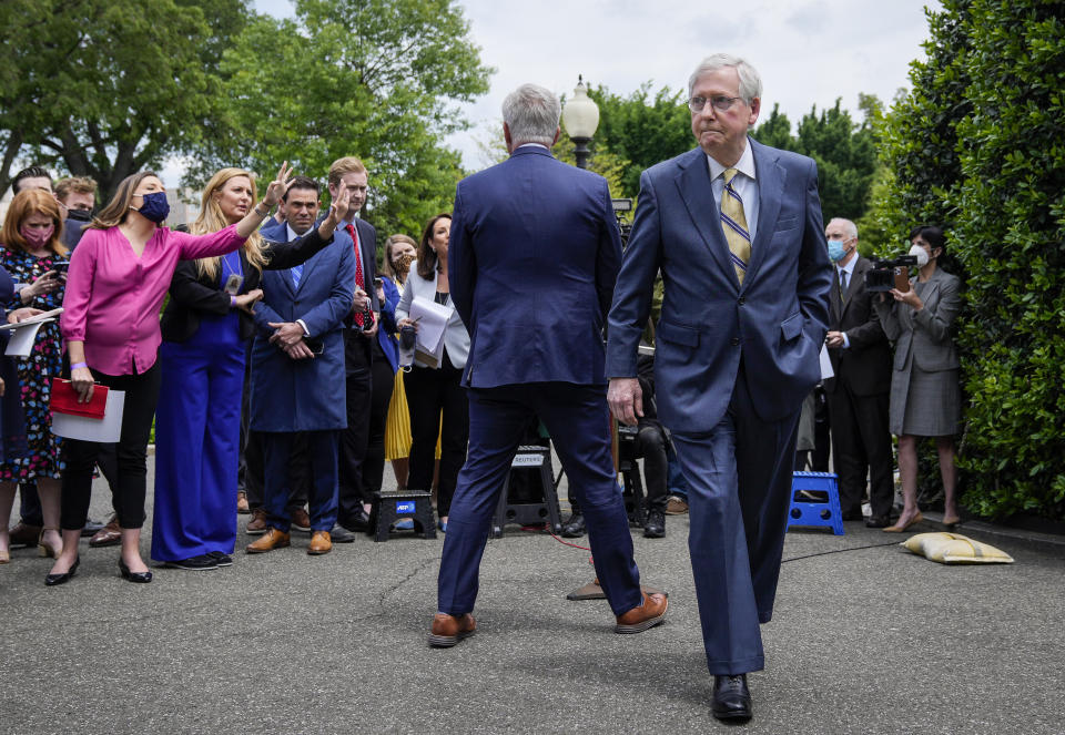 WASHINGTON, DC - MAY 12: (EDITOR'S NOTE: Alternate crop) (L-R) House Minority Leader Kevin McCarthy (R-CA) speaks with reporters as Senate Minority Leader Mitch McConnell (R-KY) departs outside the White House after their Oval Office meeting with President Joe Biden on May 12, 2021 in Washington, DC. Biden and Vice President Kamala Harris met with Congressional leadership on Wednesday, in an attempt to find common ground on issues. (Photo by Drew Angerer/Getty Images)