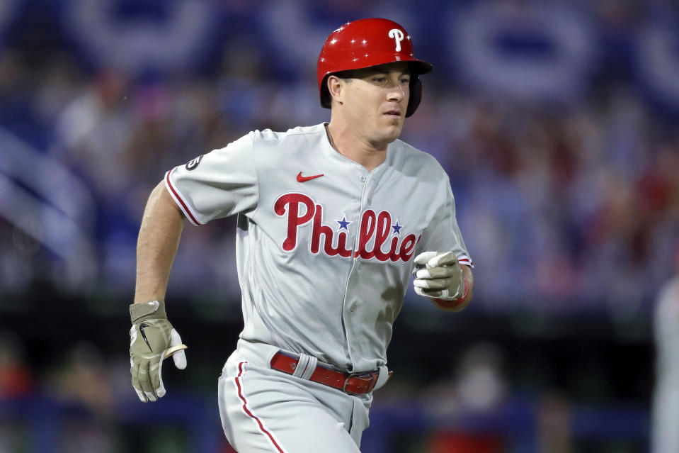 Philadelphia Phillies' J.T. Realmuto runs toward first as he grounds out against the Toronto Blue Jays during the third inning of a baseball game Friday, May 14, 2021, in Dunedin, Fla. (AP Photo/Mike Carlson)