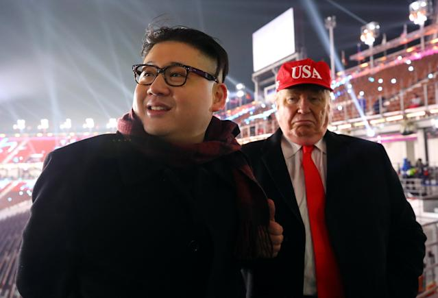 There were two unwanted guests at the PyeongChang 2018 opening ceremony as impersonators of Donald Trump and Kim Jong Un were escorted out. (AP)