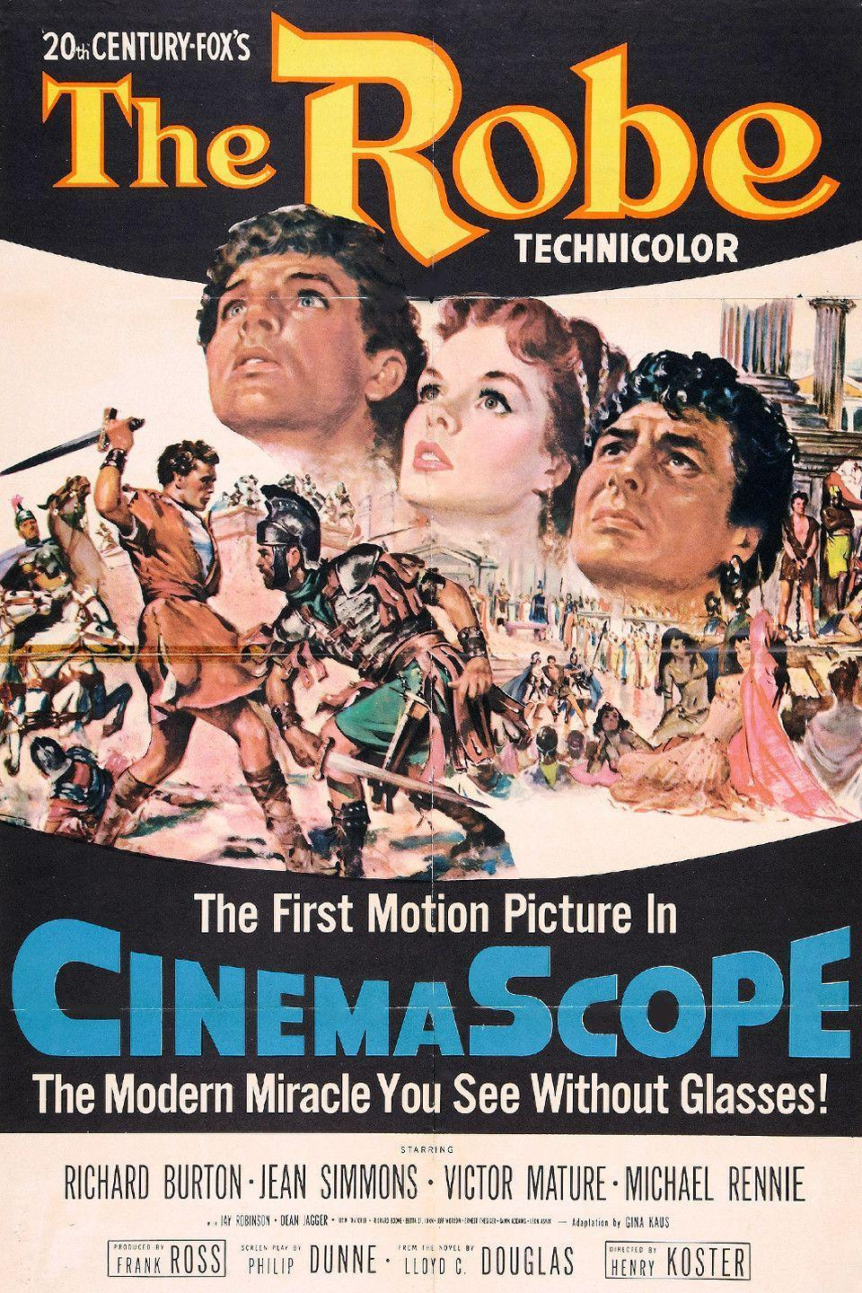"""<p>Nominated for five Academy Awards and winner of three, <em>The Robe </em>stars Richard Burton stars as Marcellus Galilo, a Roman commander who wins Christ's robe in a dice game during the crucifixion. The artifact <a href=""""https://www.womansday.com/life/g2100/bible-quotes/"""" rel=""""nofollow noopener"""" target=""""_blank"""" data-ylk=""""slk:alters his life forever"""" class=""""link rapid-noclick-resp"""">alters his life forever</a>.</p><p><a class=""""link rapid-noclick-resp"""" href=""""https://www.amazon.com/Robe-Jean-Simmons/dp/B004FWZ1Y4/ref=tmm_aiv_swatch_1?_encoding=UTF8&tag=syn-yahoo-20&ascsubtag=%5Bartid%7C10070.g.16643651%5Bsrc%7Cyahoo-us"""" rel=""""nofollow noopener"""" target=""""_blank"""" data-ylk=""""slk:STREAM NOW"""">STREAM NOW</a></p>"""