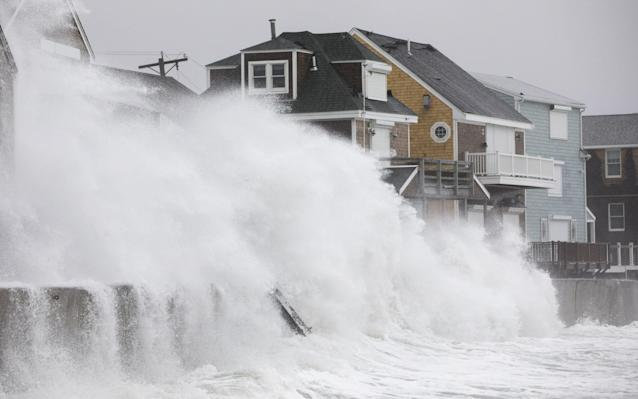 "A major winter storm battering the US east coast, undergoing ""bombogenesis,"" dumping heavy rain and strong winds. Storms and other natural disasters caused more than $300 billion in total damage in 2017."