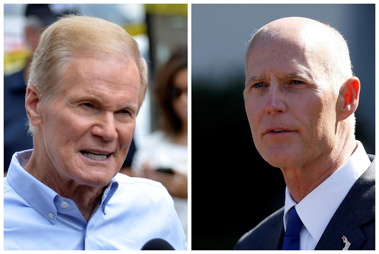 Sen. Bill Nelson, D-Fla., and Florida Gov. Rick Scott (Photos: Kevin Kolczynski/Reuters; Joshua Roberts/Reuters)