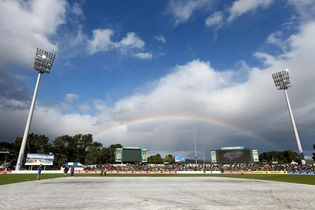 A rainbow is seen prior to the Big Bash League match between the Hobart Hurricanes and the Perth Scorchers at Blundstone Arena on January 1, 2013 in Hobart, Australia.  (Photo by Robert Cianflone/Getty Images)