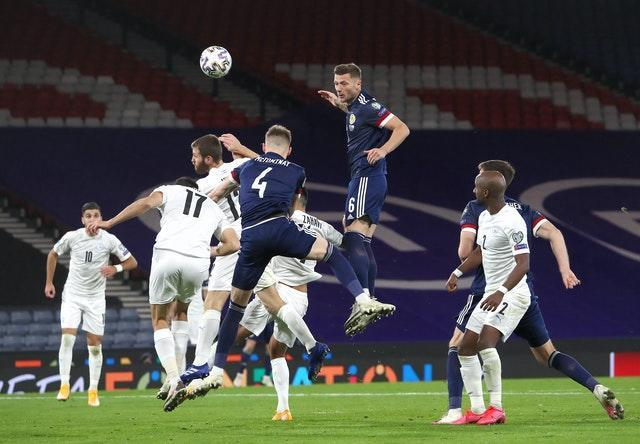 Cooper, centre, played the full 120 minutes for Scotland in their Euro 2020 play-off win against Israel
