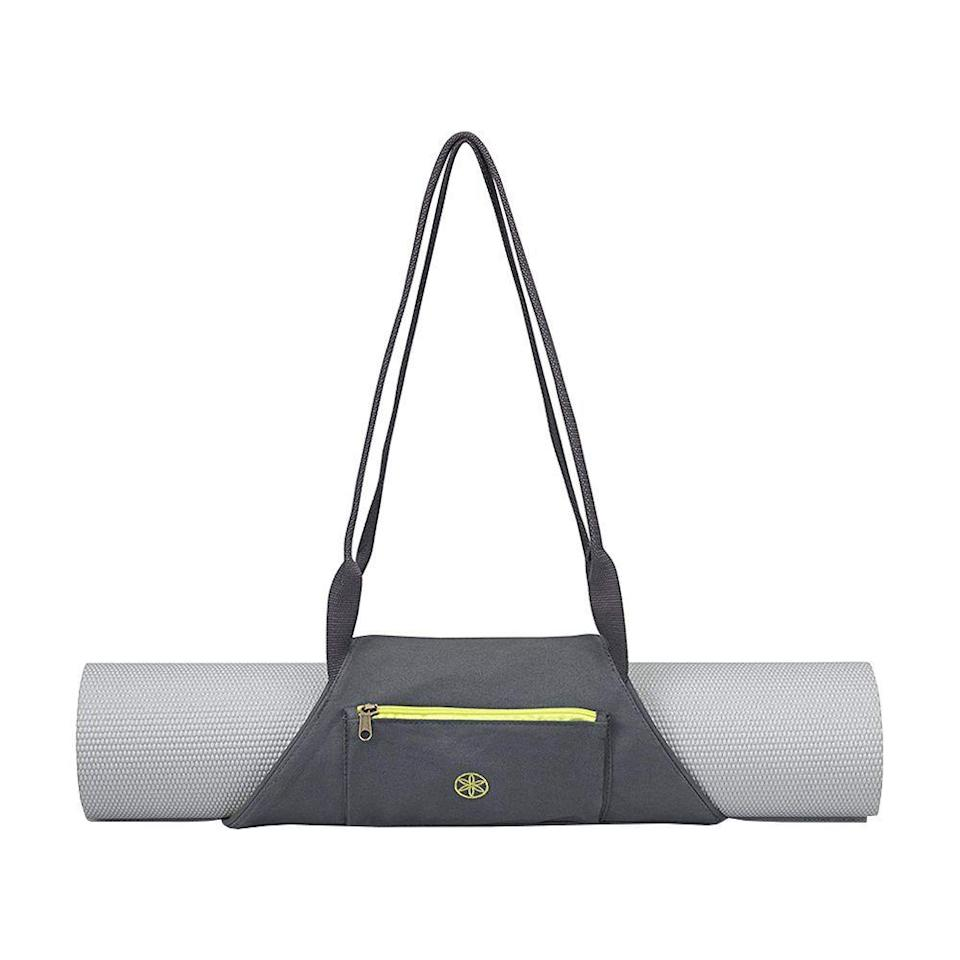 "<p><strong>Gaiam</strong></p><p>amazon.com</p><p><strong>$14.98</strong></p><p><a href=""http://www.amazon.com/dp/B00LY9P1ZU/?tag=syn-yahoo-20&ascsubtag=%5Bartid%7C2089.g.362%5Bsrc%7Cyahoo-us"" rel=""nofollow noopener"" target=""_blank"" data-ylk=""slk:Shop Now"" class=""link rapid-noclick-resp"">Shop Now</a></p><p>Shopping for a self-proclaimed yogi who's yet to discover the wonder of a yoga mat strap? Help save them the awkwardness of toting a yoga mat barehanded with this convenient strap that goes on easily and slings right over the shoulder.</p>"