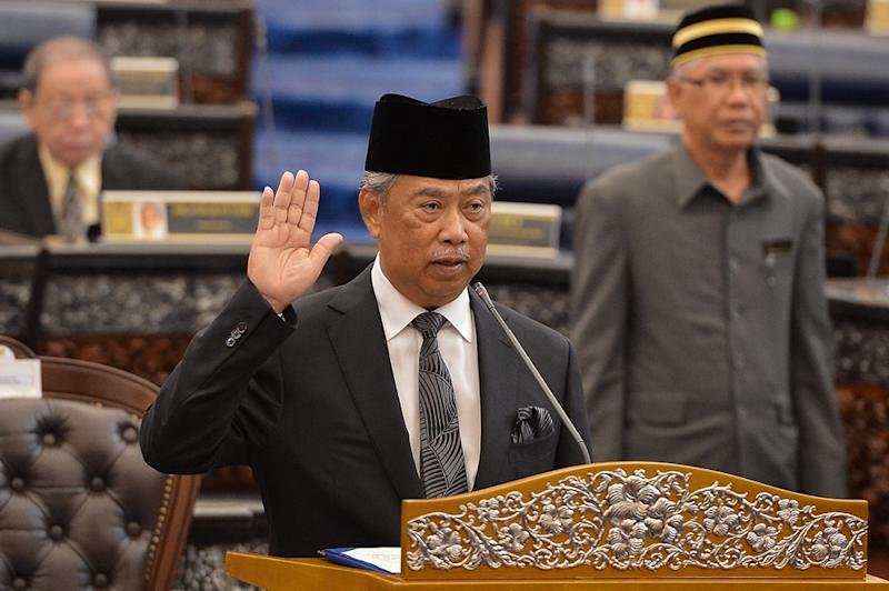 Home Minister Tan Sri Muhyiddin Yassin is sworn in as the Member of Parliament for Pagoh in Kuala Lumpur August 14, 2018. — Picture by Mukhriz Hazim